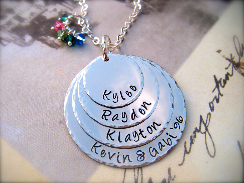 Mothers day exclusive four disc personalized pendant necklace mothers day exclusive four disc personalized pendant necklace for mommy as featured in bead trend magazine aloadofball Images